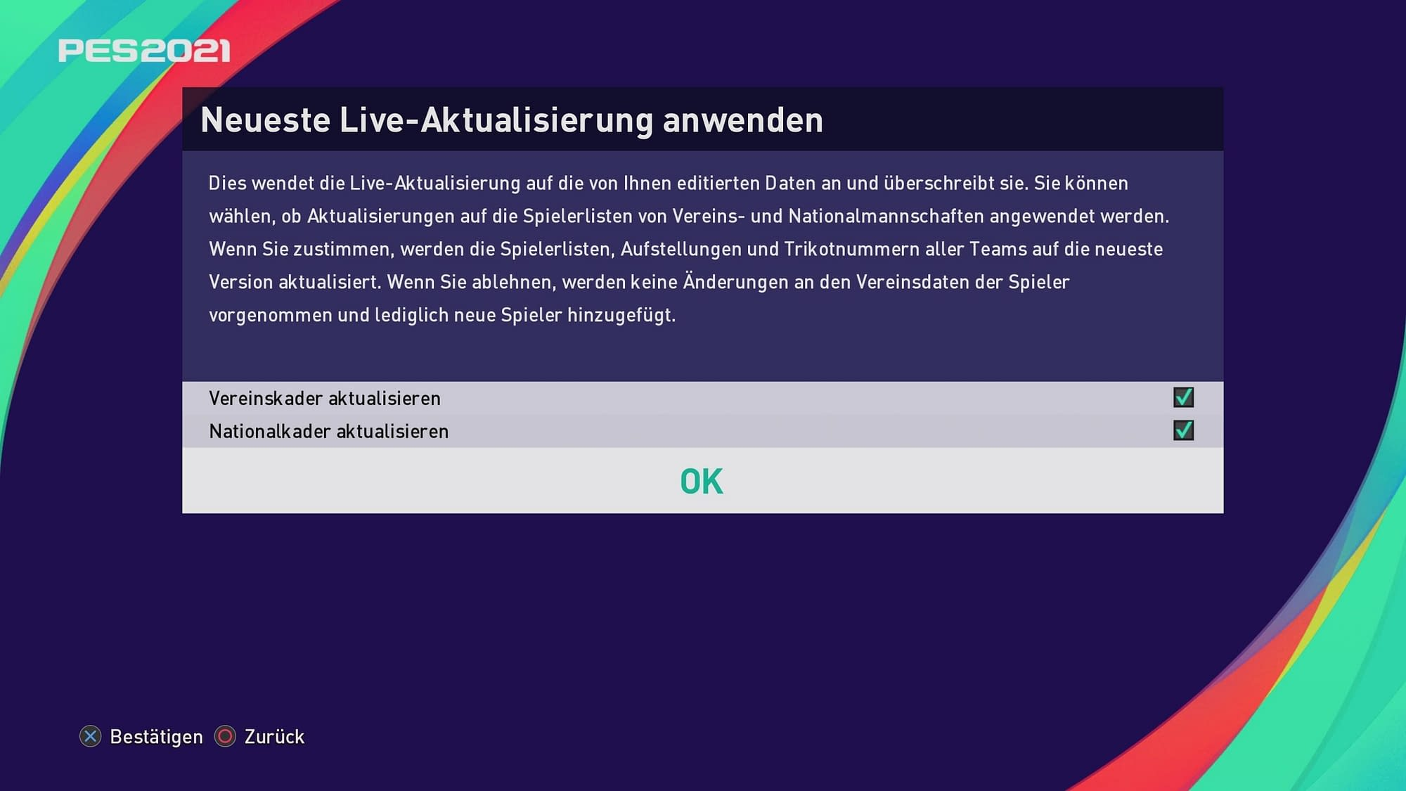PES 2021 Patch Live Aktualisierung anwenden